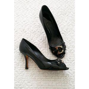 DIOR black ID peep toe 9cm CD logo kitten heels